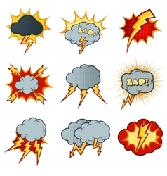 Lightning icons set in cartoon comic style vector