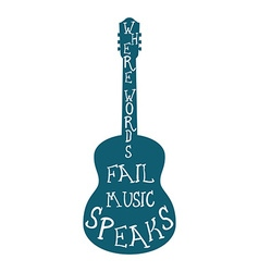 Guitar silhouette with words isolated vector image