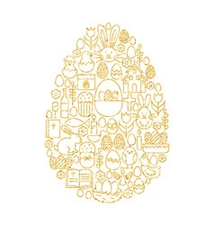 Gold happy easter line icons set egg shape vector