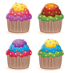 color cupcakes vector image