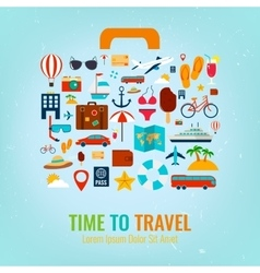 Travel holiday vacation suitcase travel and vector