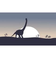 argentinosaurus on the hill scenery silhouettes vector image vector image