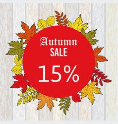 Autumn sale discount design with colorful leaves vector