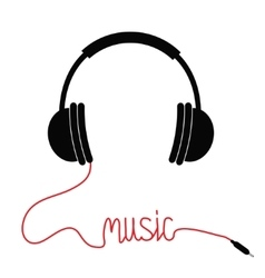 Black headphones with cord in shape of word music vector