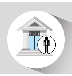 Business man bank building icon graphic vector