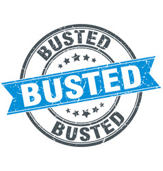 Busted round grunge ribbon stamp vector