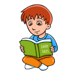 cartoon boy with book vector image