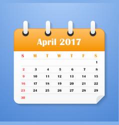 European calendar for april 2017 vector