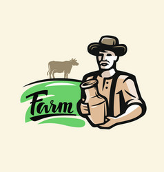 farmer with milk vector image vector image