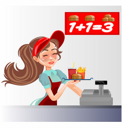 fast food seller vector image vector image