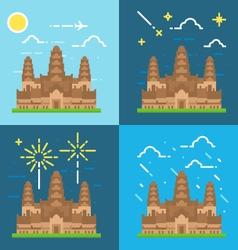 Flat design 4 styles of angkor wat cambodia vector
