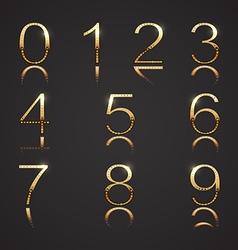 Golden Digits with Diamonds vector image