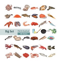 Hand drawn colorful seafood set vector