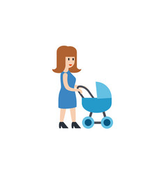 Isolated mother flat icon perambulator vector