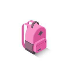Isometric modern pink school backpack vector