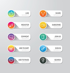 Modern banner button with social icon design optio vector image vector image