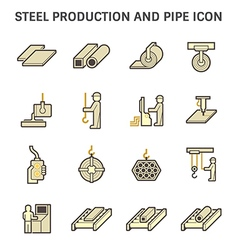 Pipe production icon yellow vector