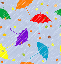 Rainy autumn background with umbrellas and leaves vector