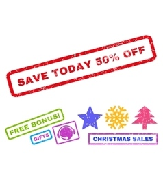 Save today 50 percent off rubber stamp vector