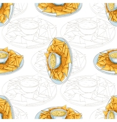 Seamless pattern nachos scetch vector image vector image