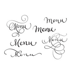 set of word menu on white calligraphy lettering vector image