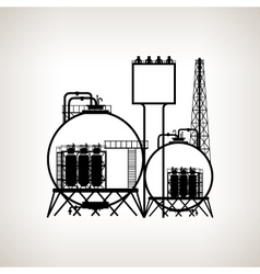 Silhouette of a chemical plant or refinery process vector