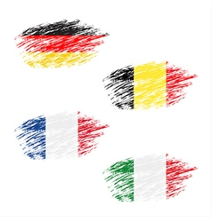 The belgian german french and italian flag vector
