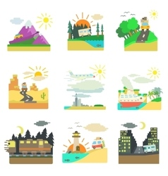 Travel concepts set flat style vector
