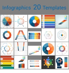 Infographics 20 templates text area 6 positions vector