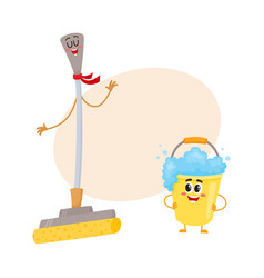 Funny sponge mop and soap foam bucket characters vector
