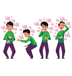 Young man laughing out loud bent over with vector