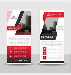 Red label business roll up banner flat design vector