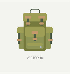 Line tile color hunt and camping icon - vector