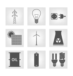 Energy electricity icons vector