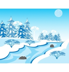 River in winter vector