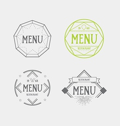 Menu logo template vintage geometric badge food vector