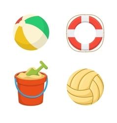 Balls Lifebuoy Sand bucket vector image