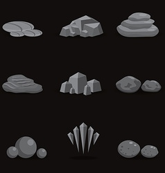 Set stone rock and pebble element decor isolated vector