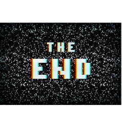 3d stereo effect the end text on noisy tv vector
