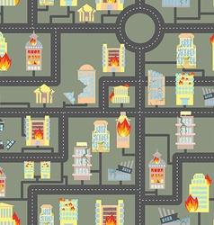 Destroyed city seamless fire in business buildings vector