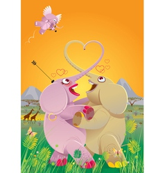 love dance of elephants vector image