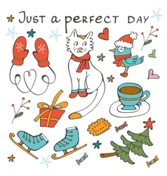 Just a perfect day concept card with winter vector