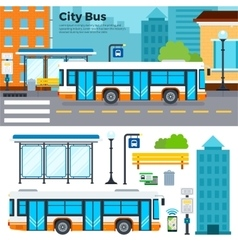 Bus on street in the city vector
