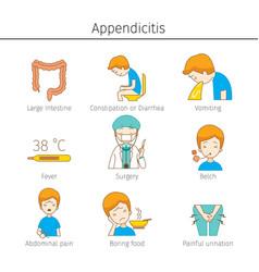 Appendicitis symptoms outline icons set vector