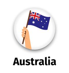 australia flag in hand round icon vector image vector image