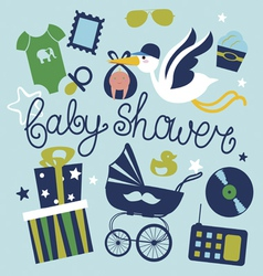 Baby shower poster design for boy vector image vector image