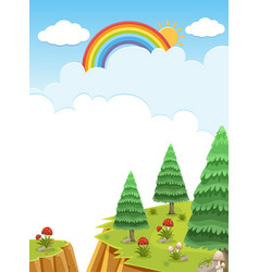 Background scene with rainbow in the sky vector