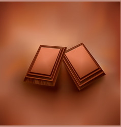 Chocolate background with piece of chocolate vector