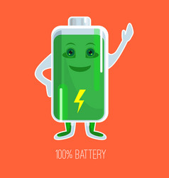 Cute full charged battery cartoon character with vector