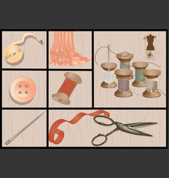 Cutting and sewing vector